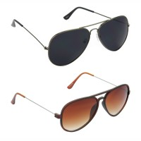 Aviator Black Lens Grey Frame Sunglasses, Aviator Brown Lens Brown Frame Sunglasses Minor Scratch - LOW-HCMB072