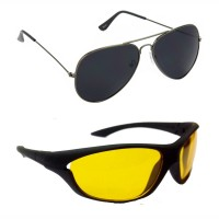 HRINKAR Aviator Black Lens Grey Frame Sunglasses, Sports Yellow Lens Black Frame Sunglasses - HCMB074