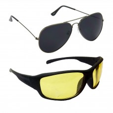 HRINKAR Aviator Black Lens Grey Frame Sunglasses, Sports Yellow Lens Black Frame Sunglasses - HCMB075