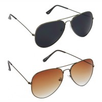 Aviator Black Lens Grey Frame Sunglasses, Aviator Brown Lens Brown Frame Sunglasses Minor Scratch - LOW-HCMB076