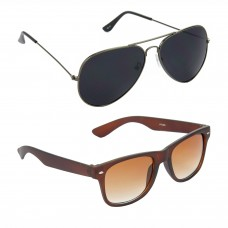 HRINKAR Aviator Black Lens Grey Frame Sunglasses, Wayfarers Brown Lens Brown Frame Sunglasses - HCMB078