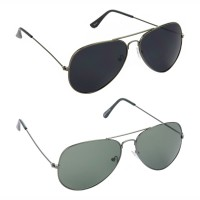 Aviator Black Lens Grey Frame Sunglasses, Aviator Green Lens Grey Frame Sunglasses Minor Scratch - LOW-HCMB079