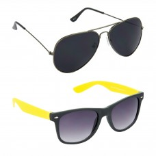 Metal Frame Black Lens Grey Frame Sunglasses, Plastic Frame Grey Lens Black Frame Sunglasses - LOW-HCMB082
