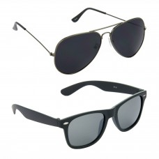 HRINKAR Aviator Black Lens Grey Frame Sunglasses, Wayfarers Grey Lens Black Frame Sunglasses - HCMB083