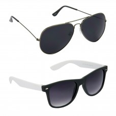 Aviator Black Lens Grey Frame Sunglasses, Wayfarers Grey Lens Black Frame Sunglasses Minor Scratch - LOW-HCMB088
