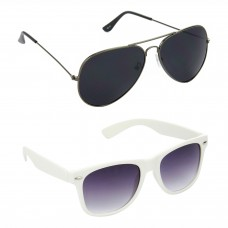Aviator Black Lens Grey Frame Sunglasses, Wayfarers Grey Lens Black Frame Sunglasses Minor Scratch - LOW-HCMB089