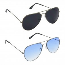 Metal Frame Black Lens Grey Frame Sunglasses, Metal Frame Blue Lens Grey Frame Sunglasses - LOW-HCMB090