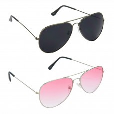 HRINKAR Aviator Black Lens Grey Frame Sunglasses, Aviator Red Lens Silver Frame Sunglasses - HCMB091