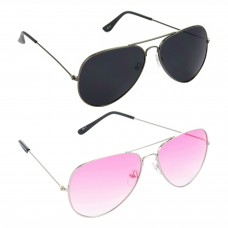 Aviator Black Lens Grey Frame Sunglasses, Aviator Pink Lens Silver Frame Sunglasses Minor Scratch - LOW-HCMB092