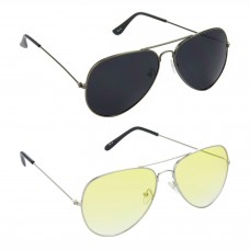HRINKAR Aviator Black Lens Grey Frame Sunglasses, Aviator Yellow Lens Silver Frame Sunglasses - HCMB093