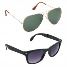 Aviator Green Lens Gold Frame Sunglasses, Wayfarers Grey Lens Black Frame Sunglasses Minor Scratch - LOW-HCMB098