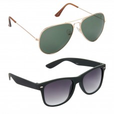 Aviator Green Lens Gold Frame Sunglasses, Wayfarers Grey Lens Black Frame Sunglasses Minor Scratch - LOW-HCMB099
