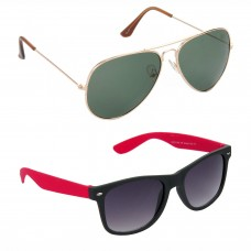 Aviator Green Lens Gold Frame Sunglasses, Wayfarers Grey Lens Black Frame Sunglasses Minor Scratch - LOW-HCMB106
