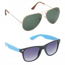 Aviator Green Lens Gold Frame Sunglasses, Wayfarers Grey Lens Black Frame Sunglasses Minor Scratch - LOW-HCMB109