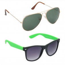 Aviator Green Lens Gold Frame Sunglasses, Wayfarers Grey Lens Black Frame Sunglasses Minor Scratch - LOW-HCMB110