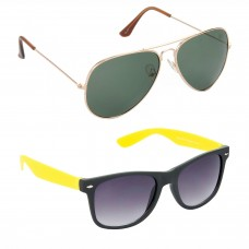 Aviator Green Lens Gold Frame Sunglasses, Wayfarers Grey Lens Black Frame Sunglasses Minor Scratch - LOW-HCMB111