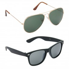 Aviator Green Lens Gold Frame Sunglasses, Wayfarers Grey Lens Black Frame Sunglasses Minor Scratch - LOW-HCMB112