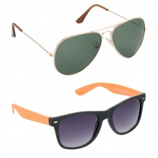 Aviator Green Lens Gold Frame Sunglasses, Wayfarers Grey Lens Black Frame Sunglasses Minor Scratch - LOW-HCMB113