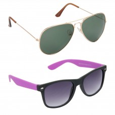 Aviator Green Lens Gold Frame Sunglasses, Wayfarers Grey Lens Black Frame Sunglasses Minor Scratch - LOW-HCMB114