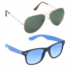 Aviator Green Lens Gold Frame Sunglasses, Wayfarers Grey Lens Black Frame Sunglasses Minor Scratch - LOW-HCMB115