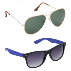 Aviator Green Lens Gold Frame Sunglasses, Wayfarers Grey Lens Black Frame Sunglasses Minor Scratch - LOW-HCMB116