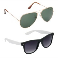 HRINKAR Aviator Green Lens Gold Frame Sunglasses, Wayfarers Grey Lens Black Frame Sunglasses - HCMB117