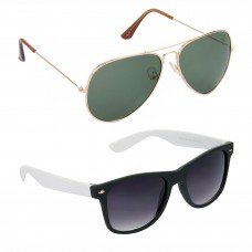 Aviator Green Lens Gold Frame Sunglasses, Wayfarers Grey Lens Black Frame Sunglasses Minor Scratch - LOW-HCMB117