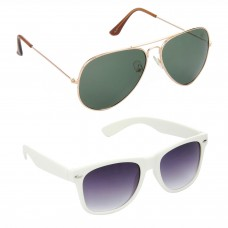 Aviator Green Lens Gold Frame Sunglasses, Wayfarers Grey Lens Black Frame Sunglasses Minor Scratch - LOW-HCMB118