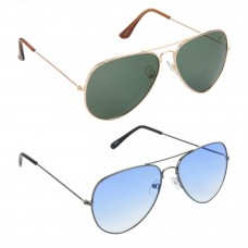 Aviator Green Lens Gold Frame Sunglasses, Aviator Blue Lens Grey Frame Sunglasses Minor Scratch - LOW-HCMB119