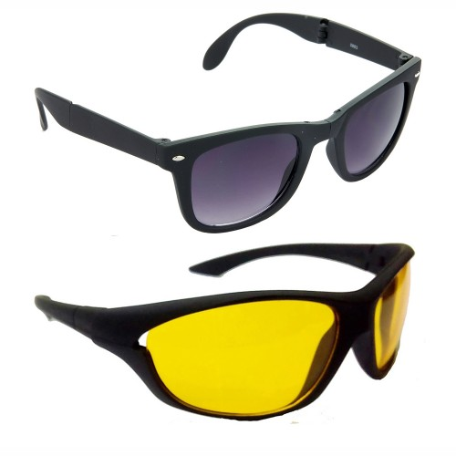 Buy HRINKAR Wayfarers Grey Lens Black Frame Sunglasses ...