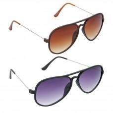 HRINKAR Aviator Brown Lens Brown Frame Sunglasses, Aviator Grey Lens Black Frame Sunglasses - HCMB298