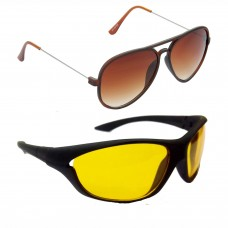 Metal Frame Brown Lens Brown Frame Sunglasses, Sports Yellow Lens Black Frame Sunglasses - LOW-HCMB299