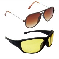 HRINKAR Aviator Brown Lens Brown Frame Sunglasses, Sports Yellow Lens Black Frame Sunglasses - HCMB300