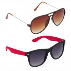 Aviator Brown Lens Brown Frame Sunglasses, Wayfarers Grey Lens Black Frame Sunglasses Minor Scratch - LOW-HCMB302