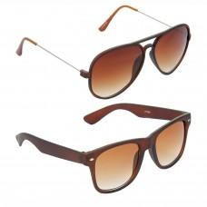 Aviator Brown Lens Brown Frame Sunglasses, Wayfarers Brown Lens Brown Frame Sunglasses Minor Scratch - LOW-HCMB303