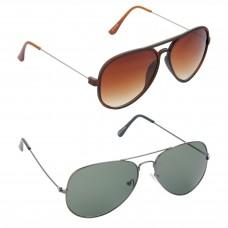HRINKAR Aviator Brown Lens Brown Frame Sunglasses, Aviator Green Lens Grey Frame Sunglasses - HCMB304