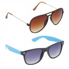 Aviator Brown Lens Brown Frame Sunglasses, Wayfarers Grey Lens Black Frame Sunglasses Minor Scratch - LOW-HCMB305