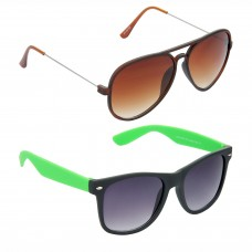 Metal Frame Brown Lens Brown Frame Sunglasses, Plastic Frame Grey Lens Black Frame Sunglasses - LOW-HCMB306