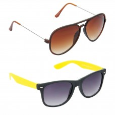 Metal Frame Brown Lens Brown Frame Sunglasses, Plastic Frame Grey Lens Black Frame Sunglasses - LOW-HCMB307