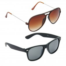 Metal Frame Brown Lens Brown Frame Sunglasses, Plastic Frame Grey Lens Black Frame Sunglasses - LOW-HCMB308