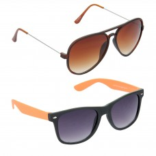 Metal Frame Brown Lens Brown Frame Sunglasses, Plastic Frame Grey Lens Black Frame Sunglasses - LOW-HCMB309