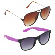 Metal Frame Brown Lens Brown Frame Sunglasses, Plastic Frame Grey Lens Black Frame Sunglasses - LOW-HCMB310
