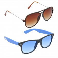Metal Frame Brown Lens Brown Frame Sunglasses, Plastic Frame Grey Lens Black Frame Sunglasses - LOW-HCMB311