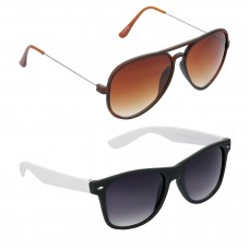 Metal Frame Brown Lens Brown Frame Sunglasses, Plastic Frame Grey Lens Black Frame Sunglasses - LOW-HCMB313