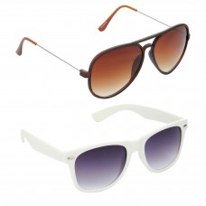 Aviator Brown Lens Brown Frame Sunglasses, Wayfarers Grey Lens Black Frame Sunglasses Minor Scratch - LOW-HCMB314