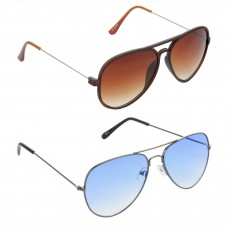 Aviator Brown Lens Brown Frame Sunglasses, Aviator Blue Lens Grey Frame Sunglasses Minor Scratch - LOW-HCMB315