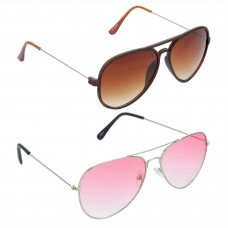 Aviator Brown Lens Brown Frame Sunglasses, Aviator Red Lens Silver Frame Sunglasses Minor Scratch - LOW-HCMB316