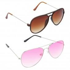 HRINKAR Aviator Brown Lens Brown Frame Sunglasses, Aviator Pink Lens Silver Frame Sunglasses - HCMB317