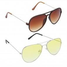 HRINKAR Aviator Brown Lens Brown Frame Sunglasses, Aviator Yellow Lens Silver Frame Sunglasses - HCMB318