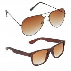 Aviator Brown Lens Brown Frame Sunglasses, Wayfarers Brown Lens Brown Frame Sunglasses Minor Scratch - LOW-HCMB377